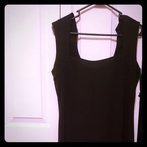STUDIO Y floor length black dress.